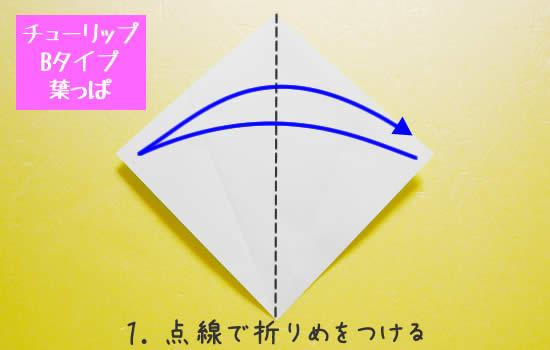 チューリップBタイプ 葉っぱの折り方1