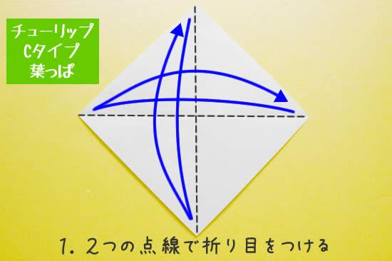 チューリップCタイプ 葉っぱの折り方1