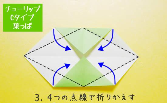 チューリップCタイプ 葉っぱの折り方3
