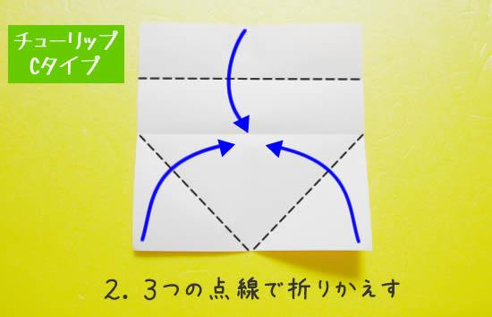 チューリップC 花の折り方2