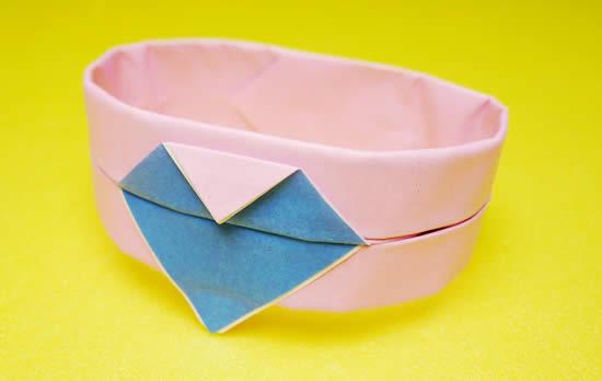 2色でつくったハートのブレスレット折り紙