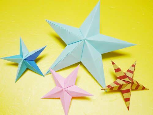 折り紙でつくる立体的な星