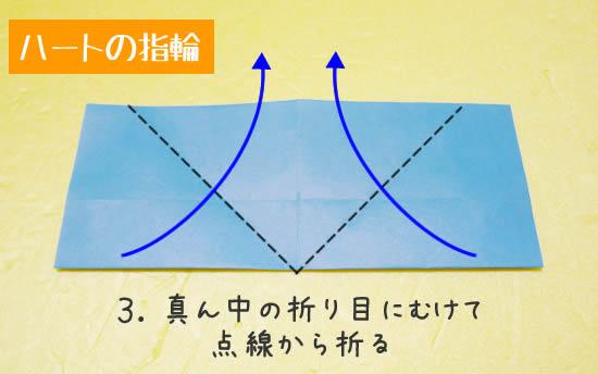 ハートの指輪 折り方3